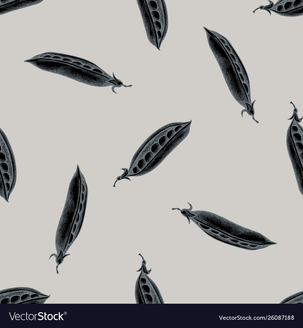 Seamless pattern with hand drawn stylized peas