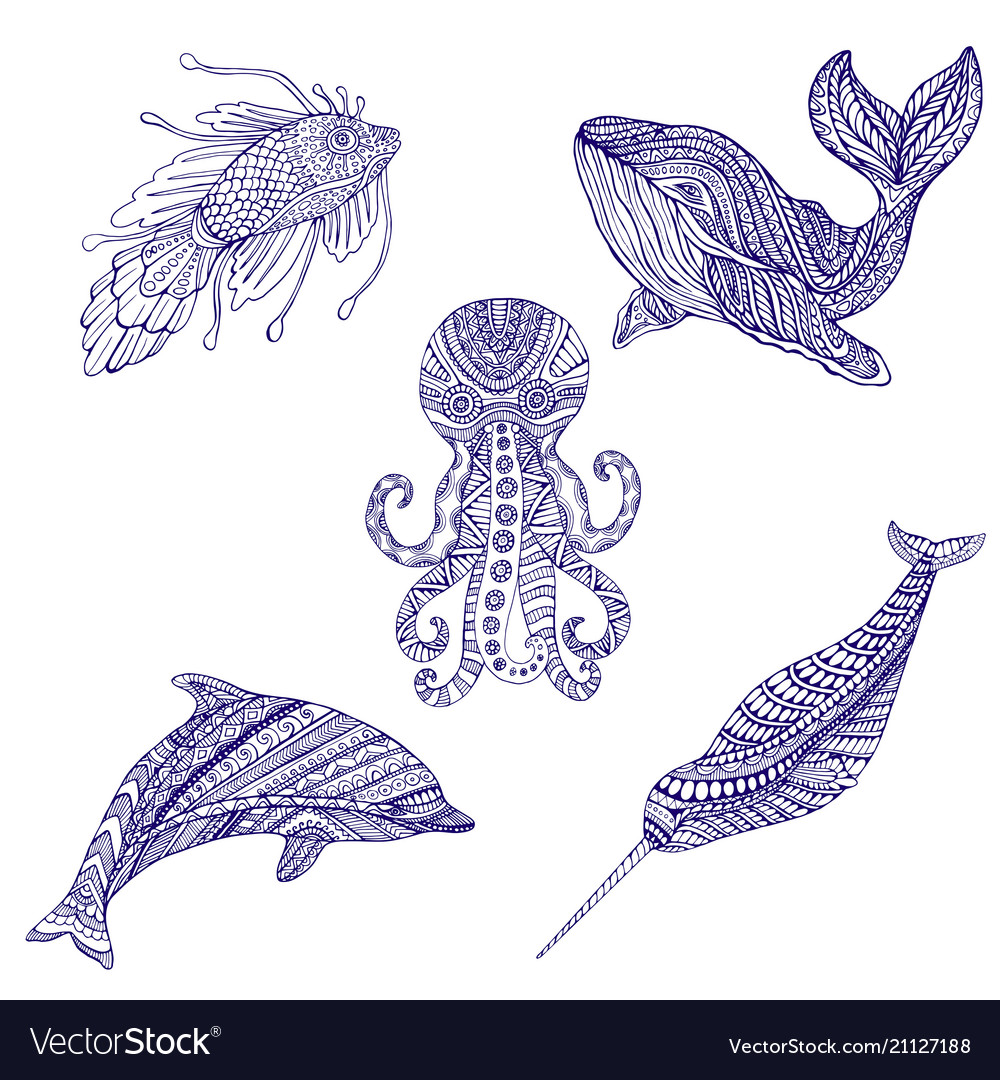 Set marine doodle animals ornament coloring