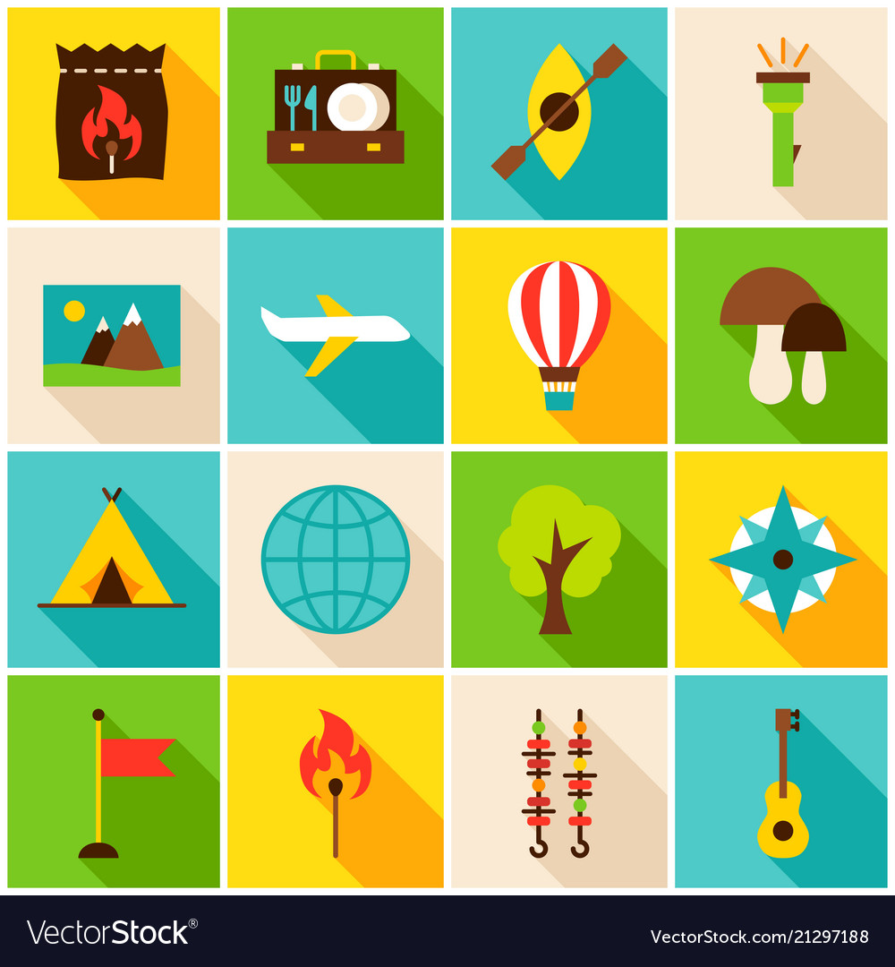 Summer camp colorful icons