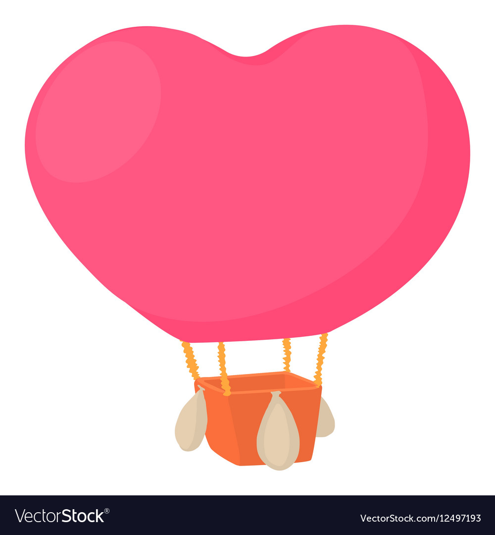 Air balloon in shape of heart icon cartoon style