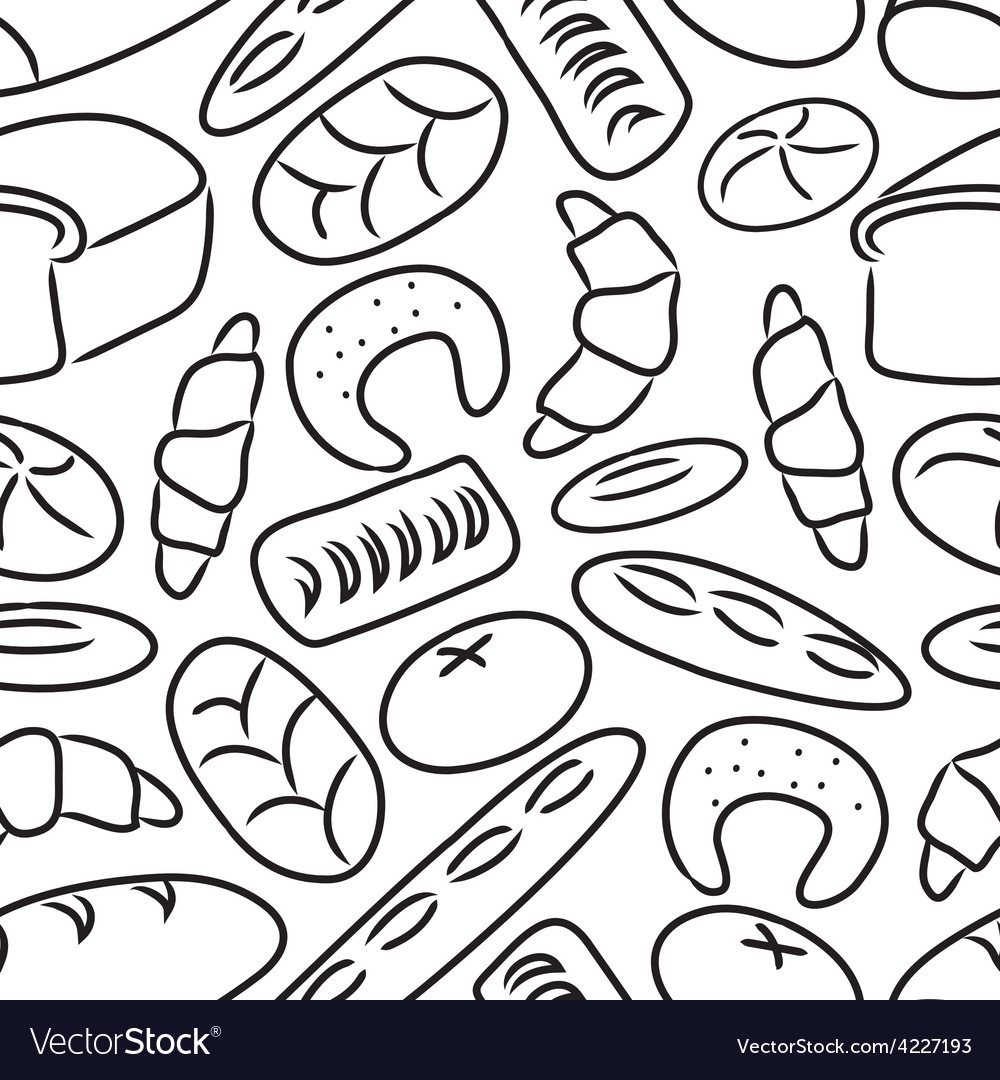 Bakery products doodle sketch icons seamless