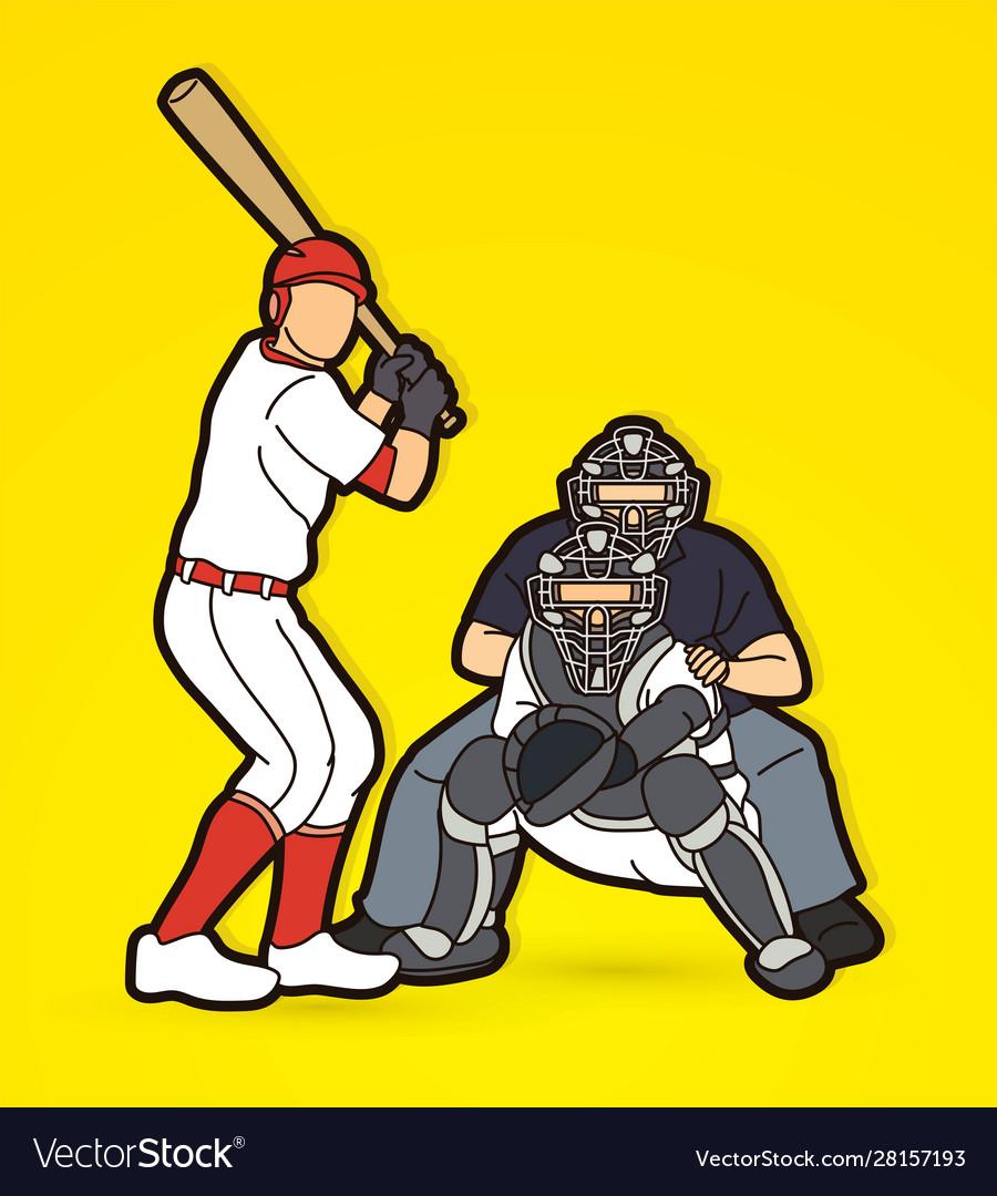 Baseball player action cartoon sport graphic