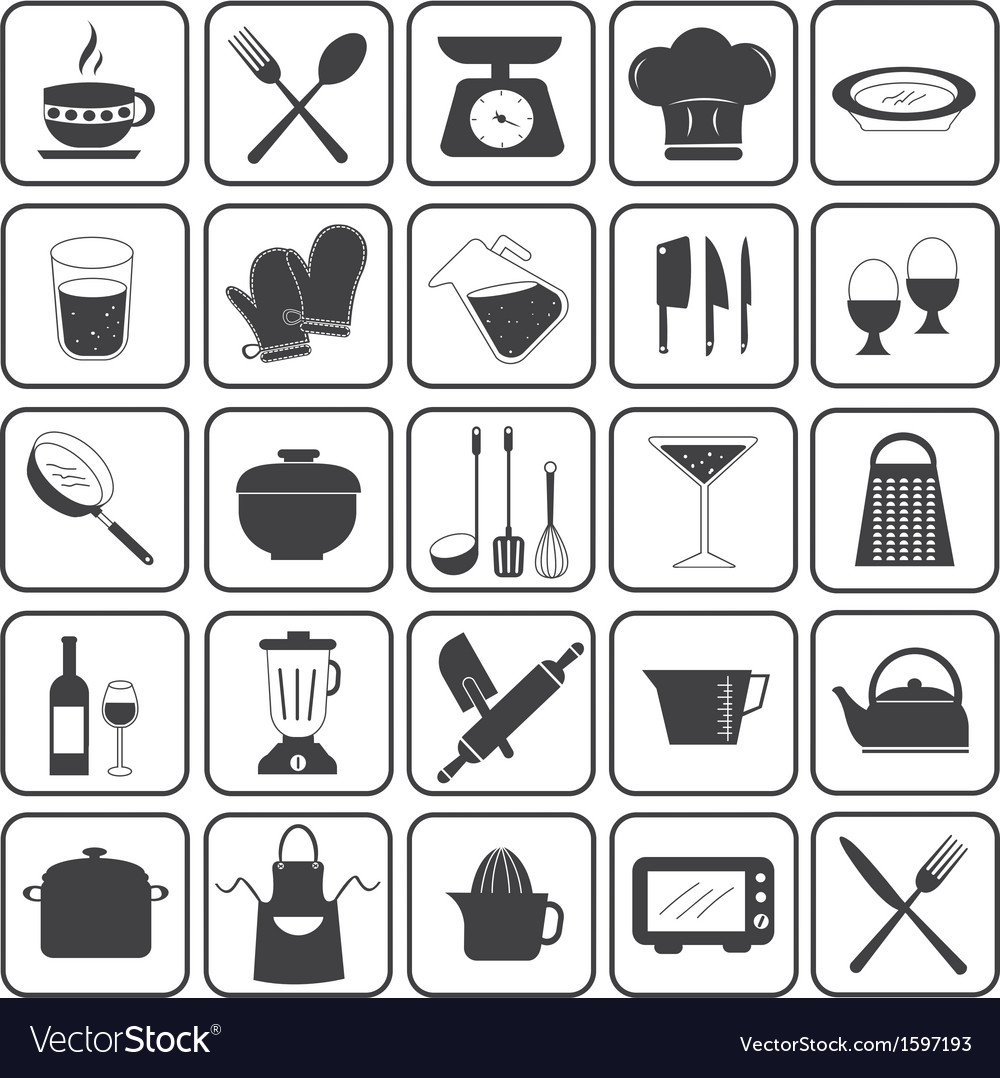 Basic Cooking Icons Set vector image