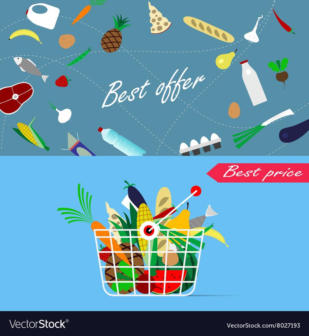 Basket full of healthy organic fresh and natural
