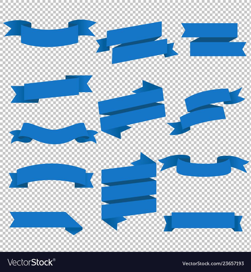 Blue web ribbons set transparent background