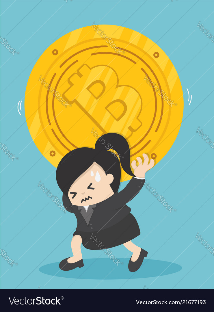 Businessman carrying bits coin depict the