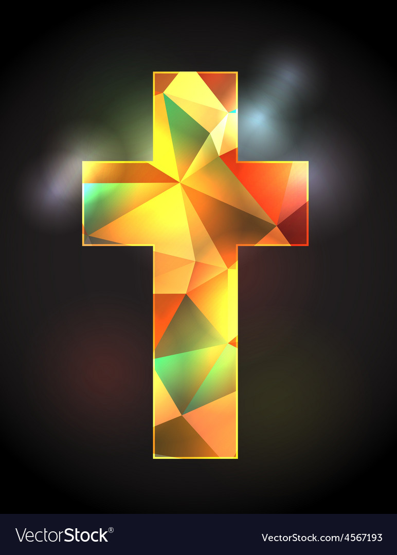Christian Cross with Stained Glass