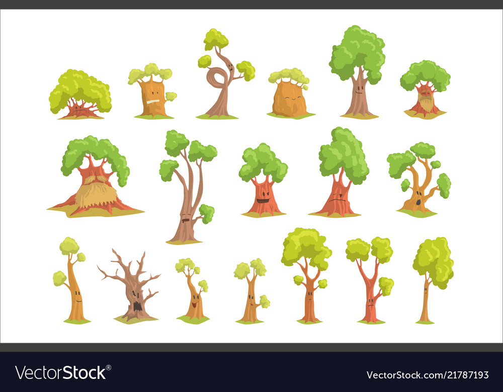 Cute Tree Characters Set Funny Humanized Trees Vector Image Vector art, clipart and stock vectors. vectorstock