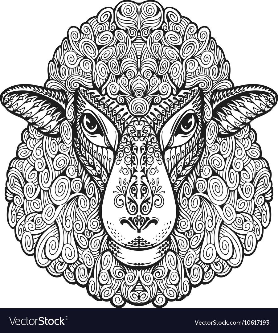 Head sheep Ethnic patterns Hand drawn