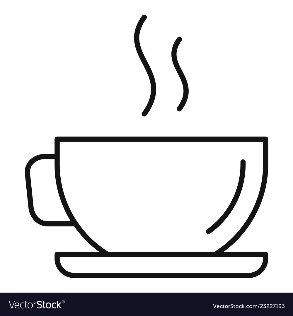 Hot Coffee Cup Icon Outline Style Royalty Free Vector Image