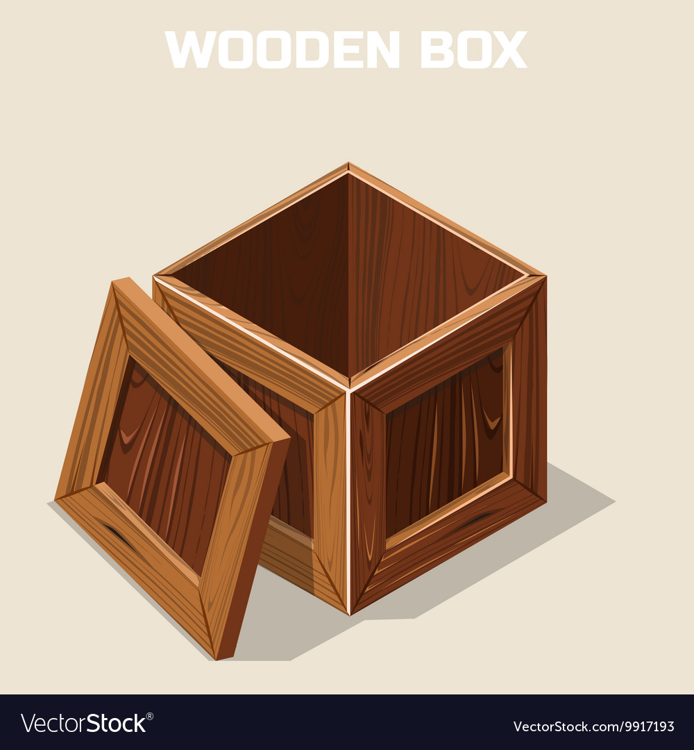 open wooden box isometric royalty free vector image