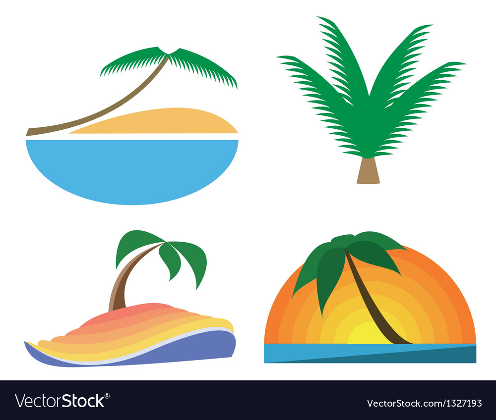 Palm Tree Icons Tropic Symbols Royalty Free Vector Image