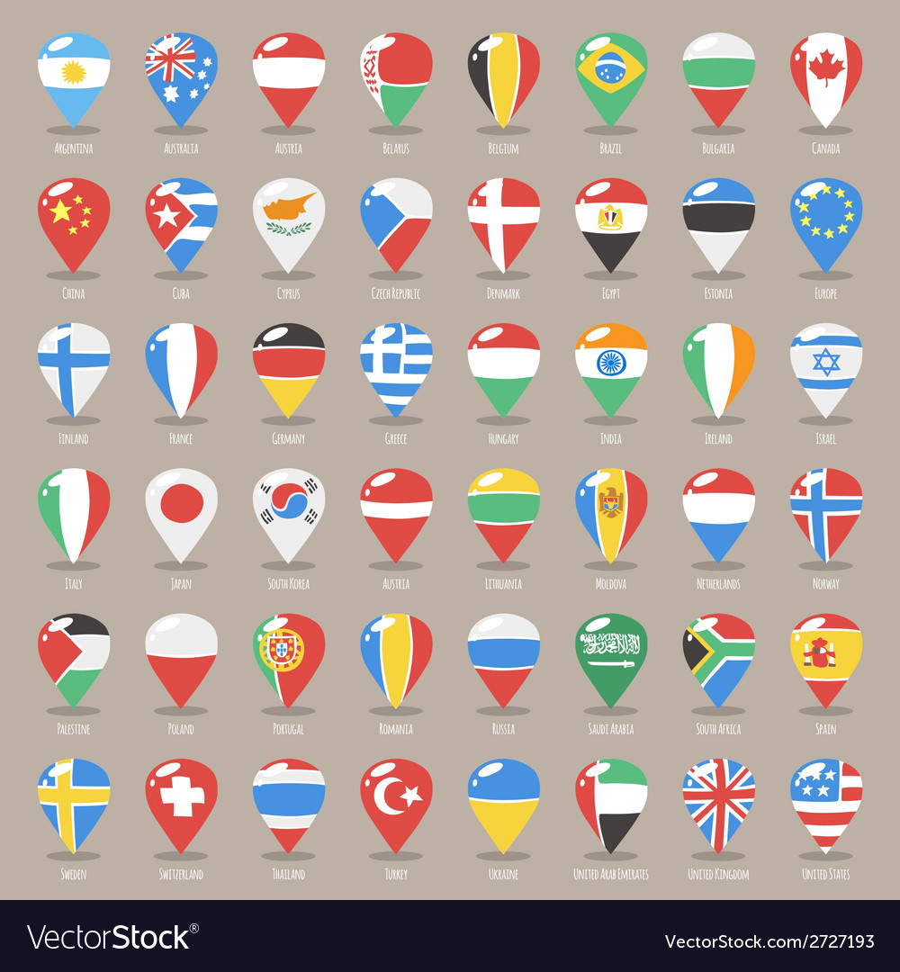 Flag World Map.Set Of Flat Map Pointers With World States Flags Vector Image