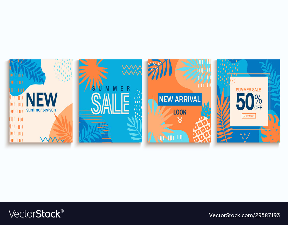 Set summer sale abstract cards
