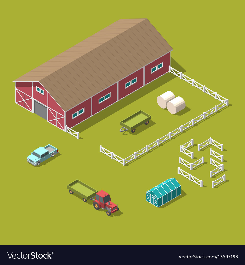Traditional vintage red farm isometric 3d