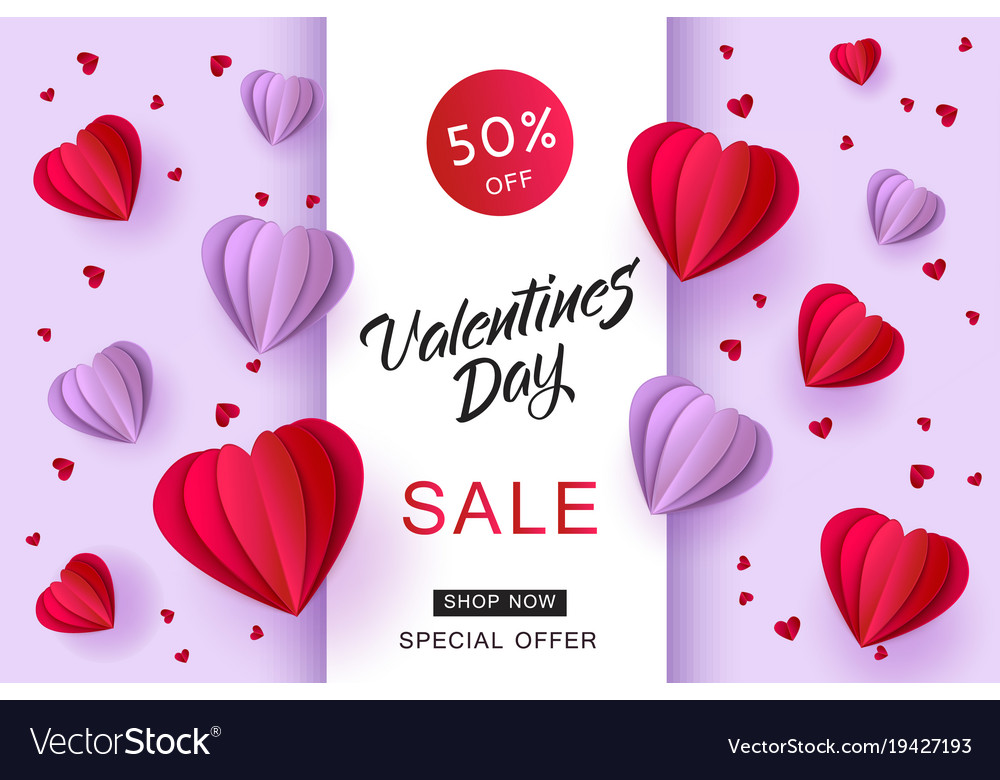 Valentines Day Sale Paper Origami Heart Royalty Free Vector
