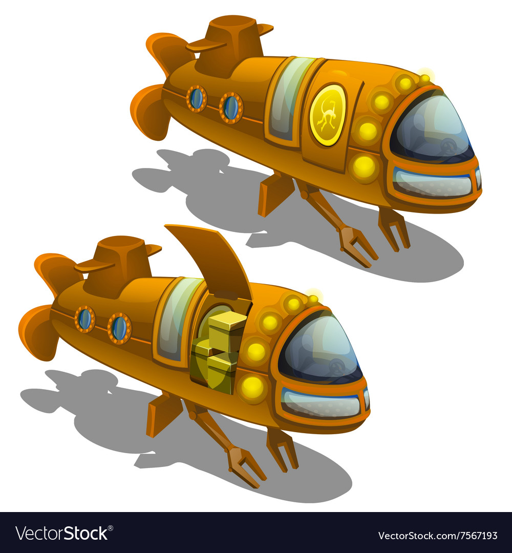 Yellow submarine cargo isolated vector image