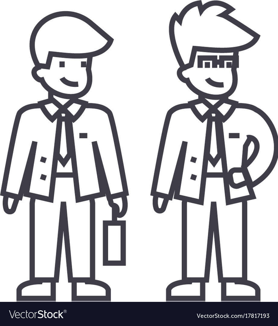Young businessmen line icon sign