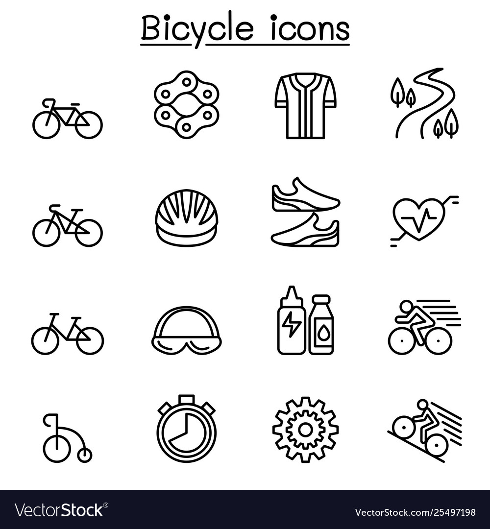 Bicycle icon set in thin line style