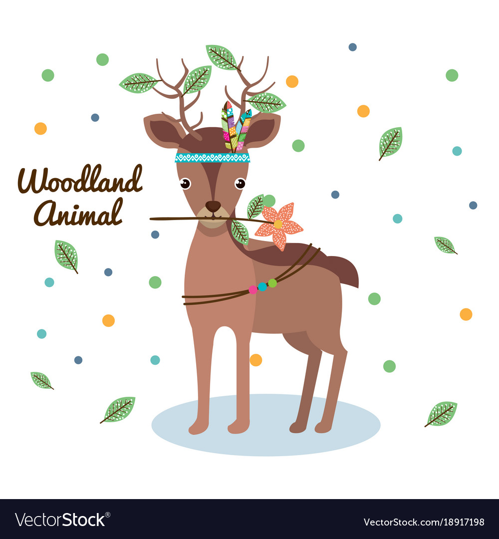 Deer woodland animal with feather crown