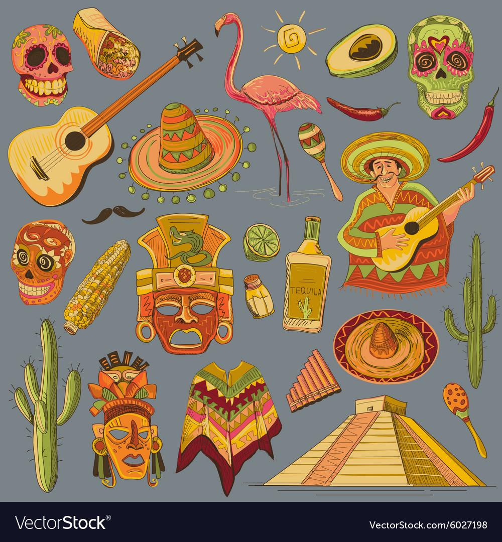 Hand drawn Mexico icons set