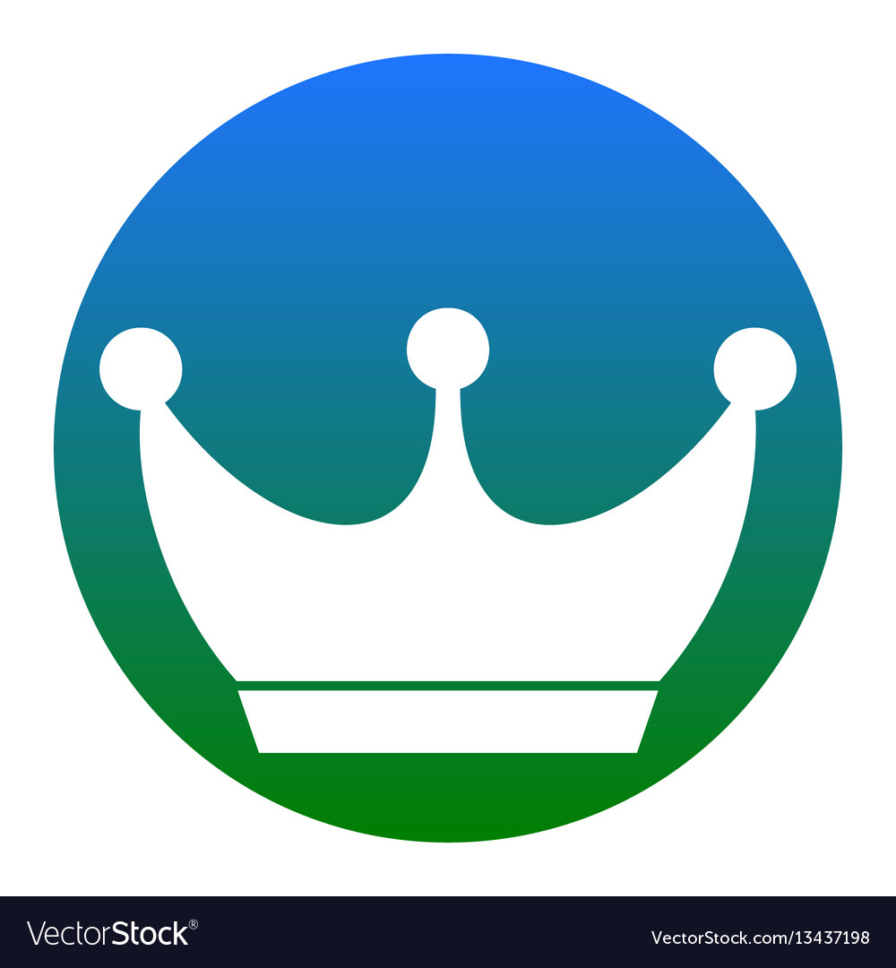 King Crown Sign White Icon In Bluish Royalty Free Vector