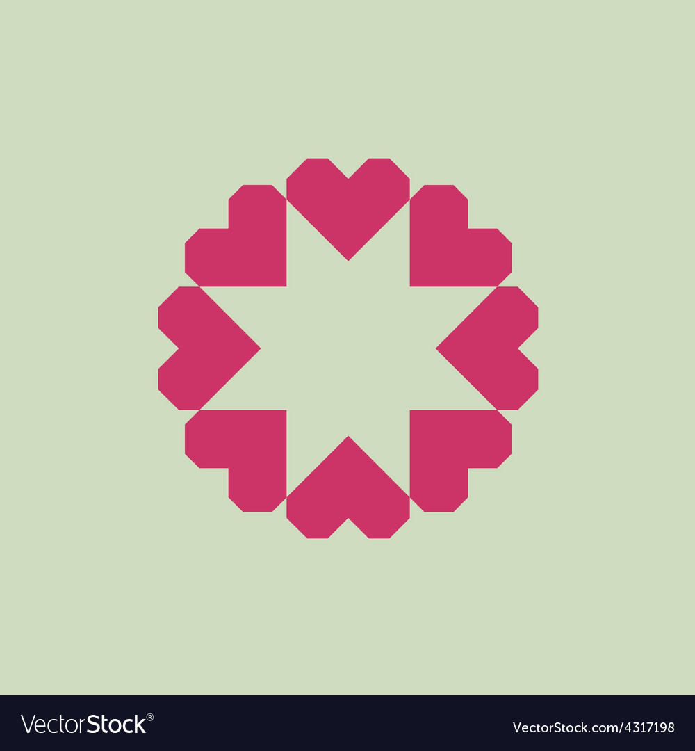 Letter O logo from geometric hearts as a flower