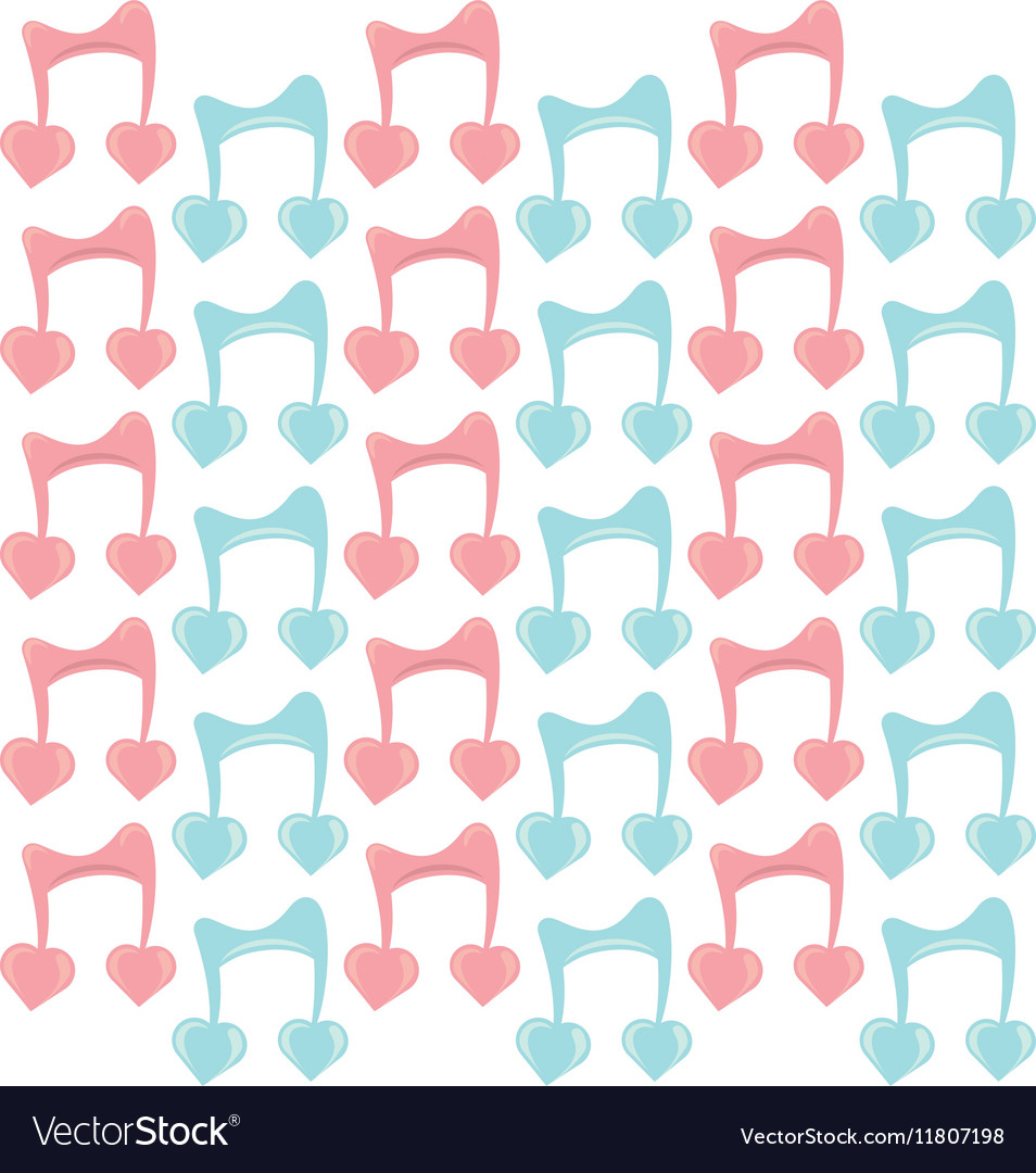 Musical note with hearts seamless pattern