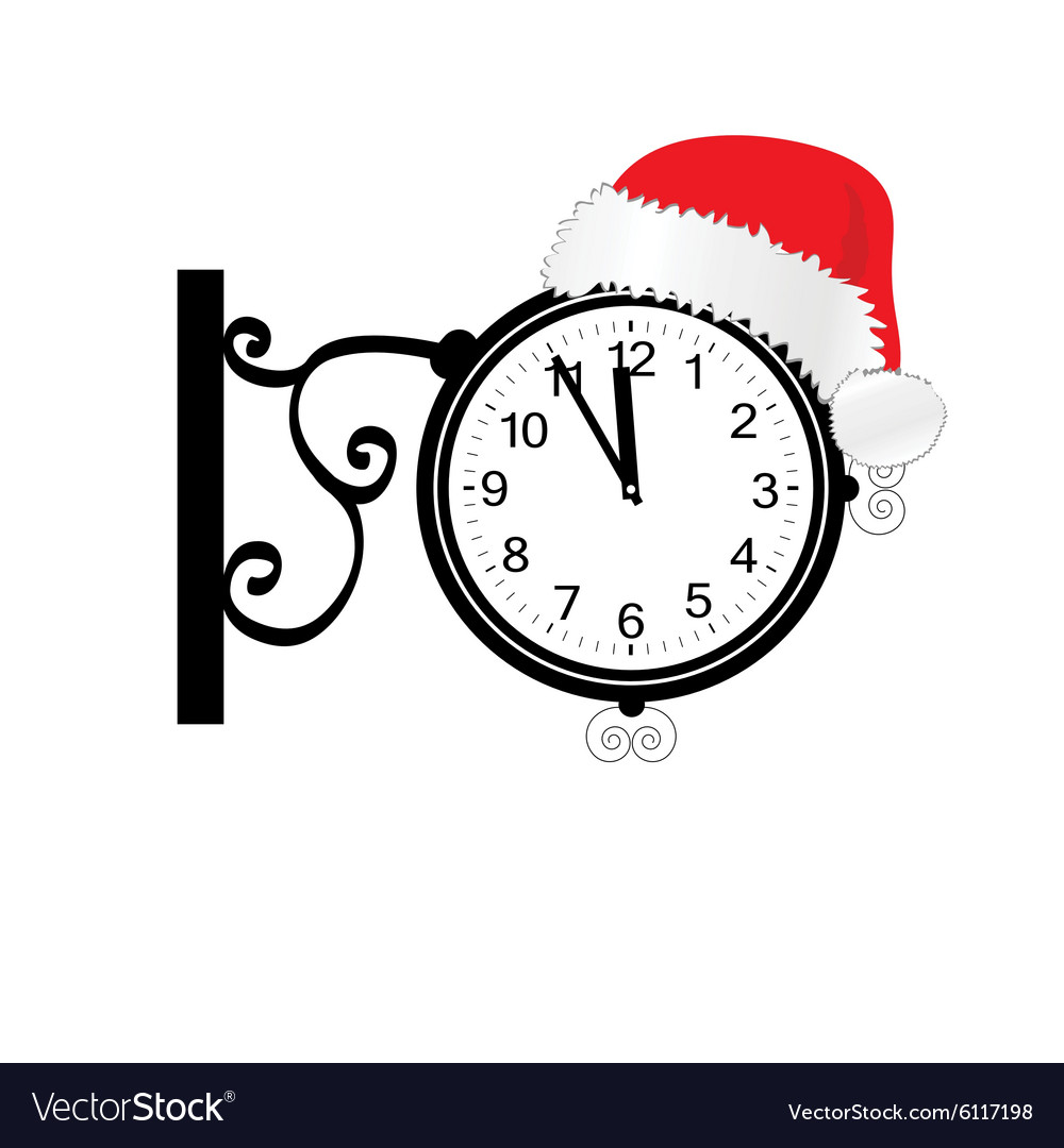Old clock with happy new year hat