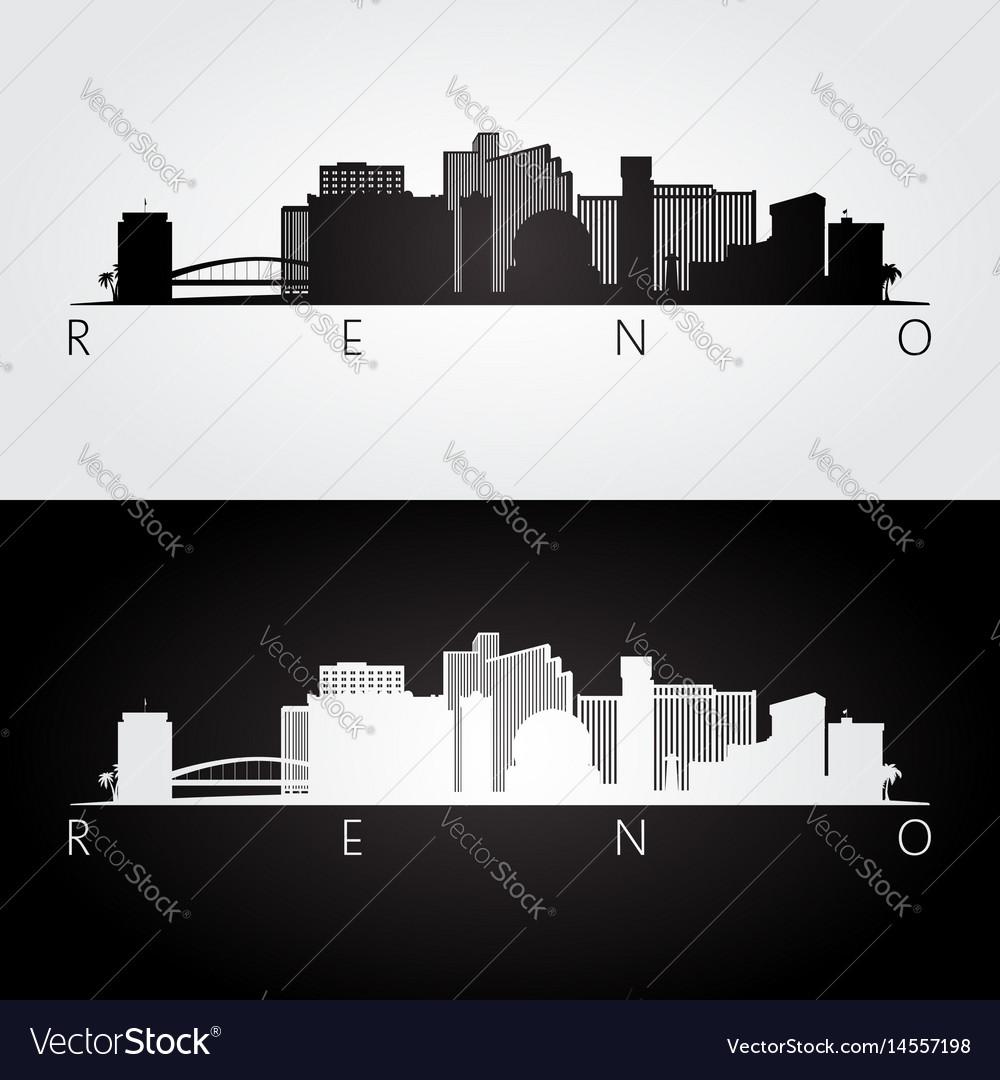 Reno usa skyline and landmarks silhouette