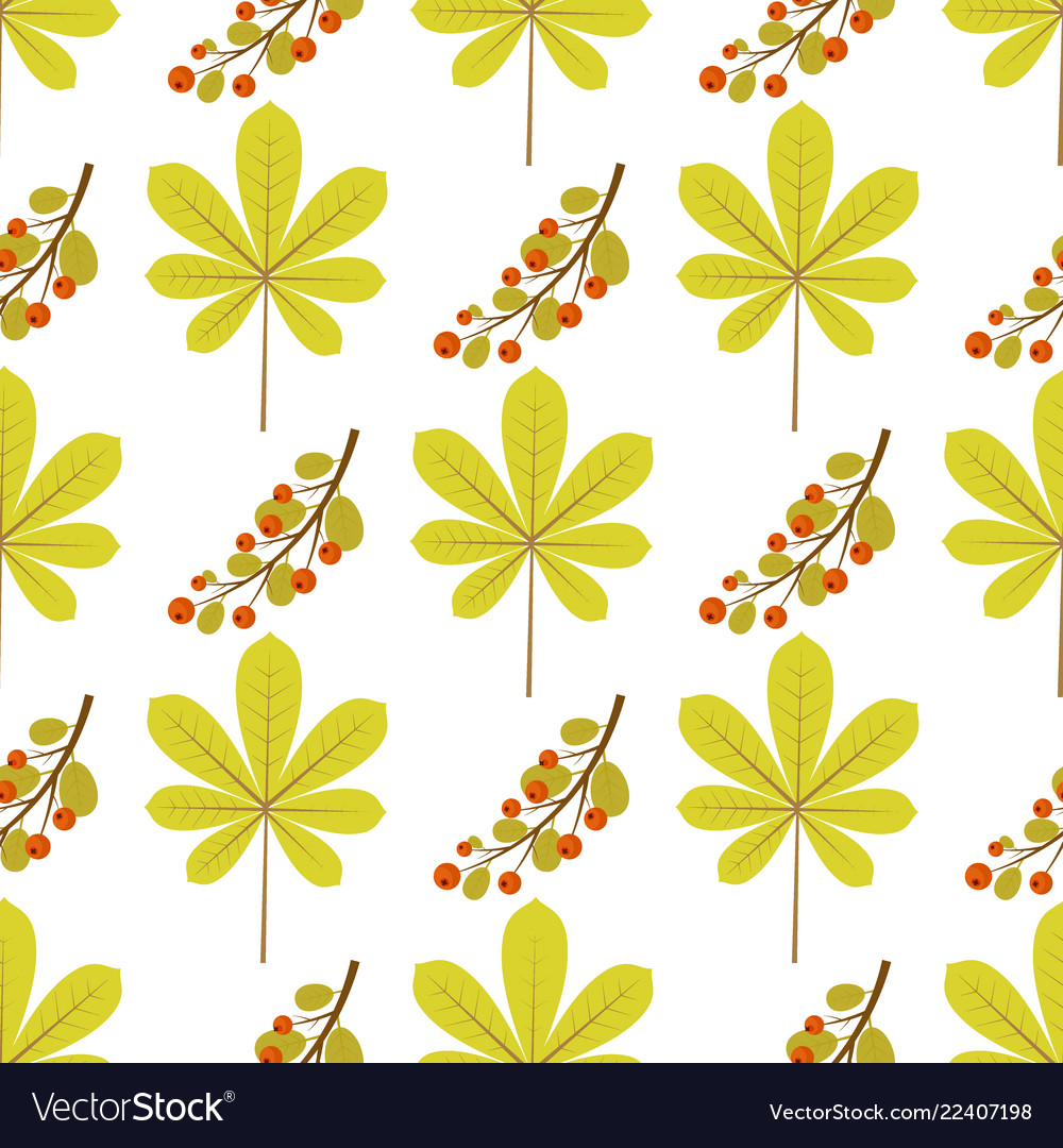 Seamless pattern with chestnut leaf and branch