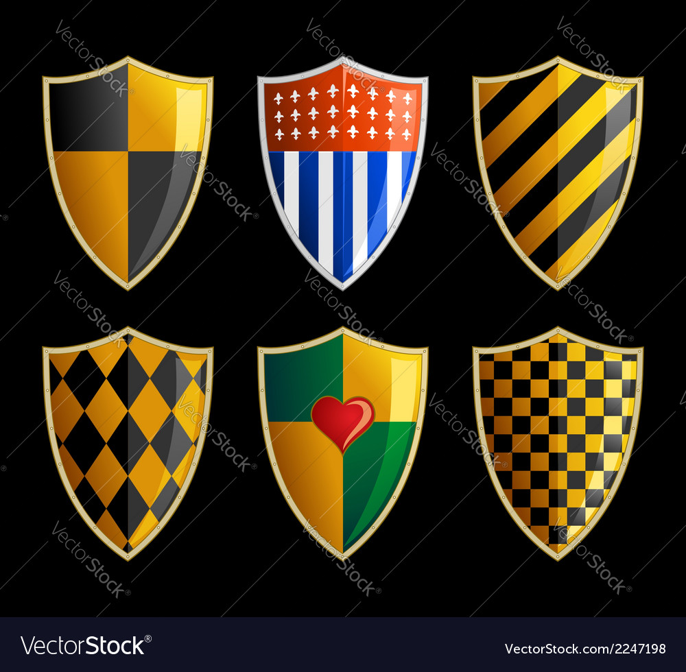 Set of medieval shields vector image