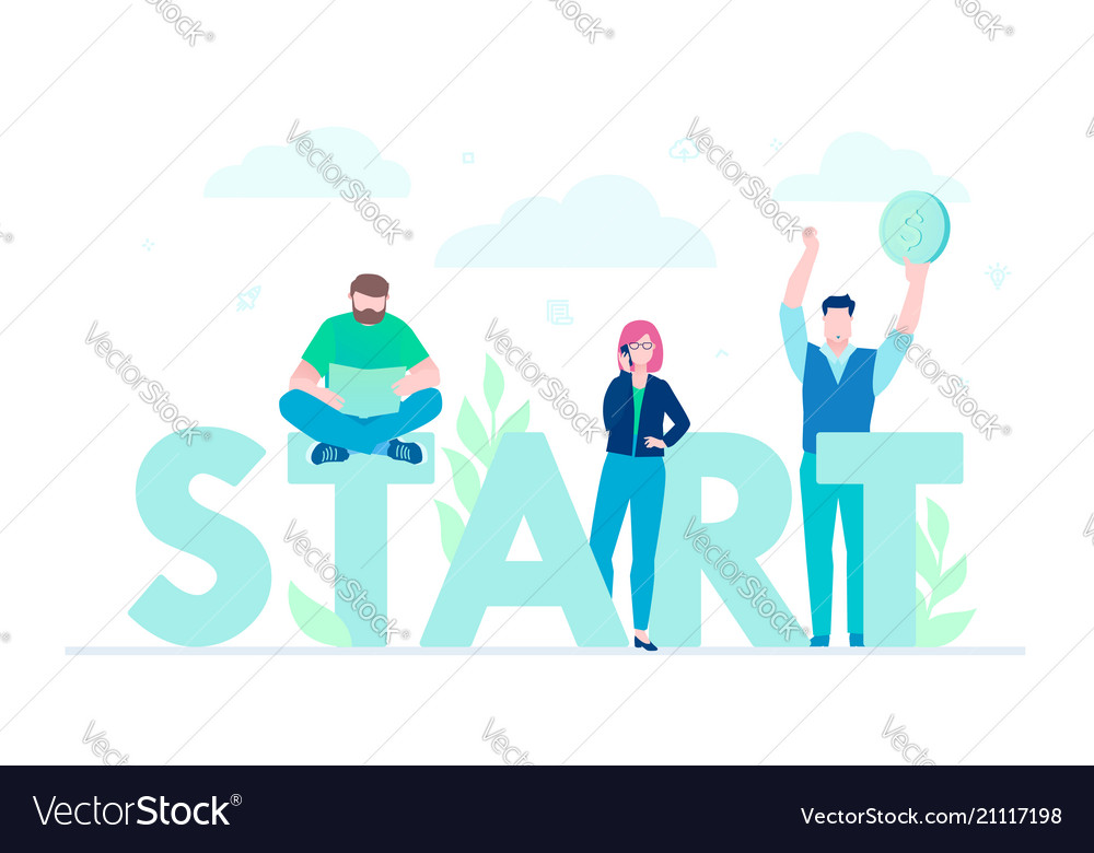 Start - flat design style colorful