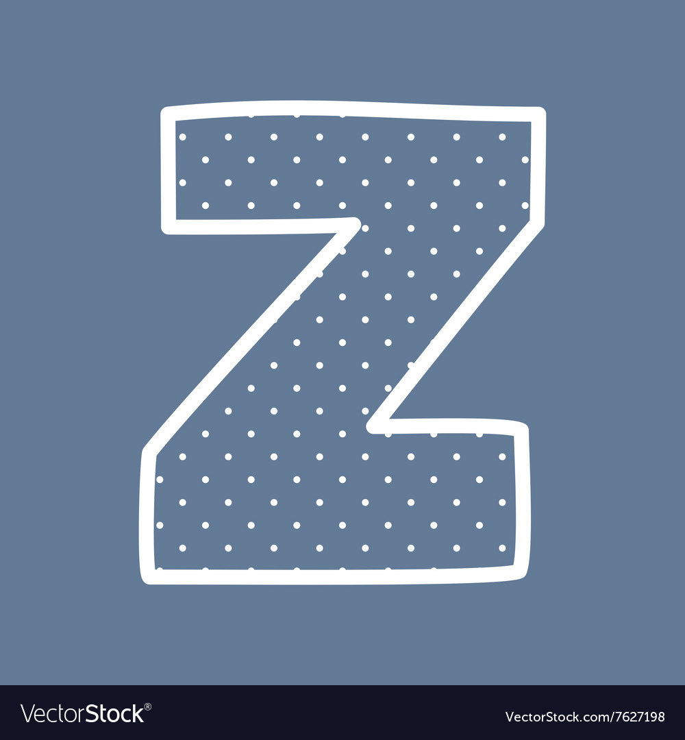 Z alphabet letter with white polka dots on blue