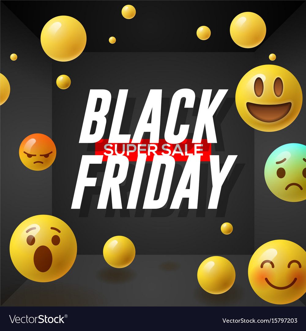 Black friday super sale poster with emoticons