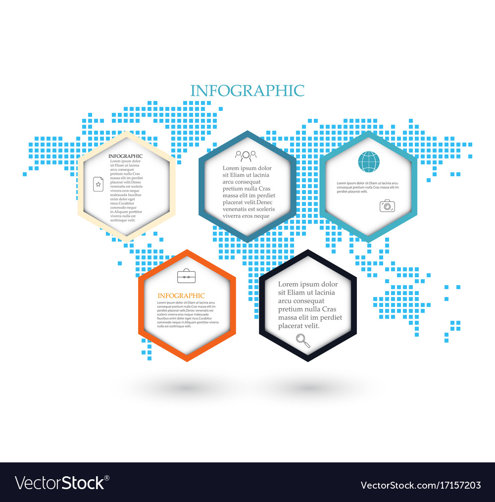 Business template infographicsthe five hexagons vector image