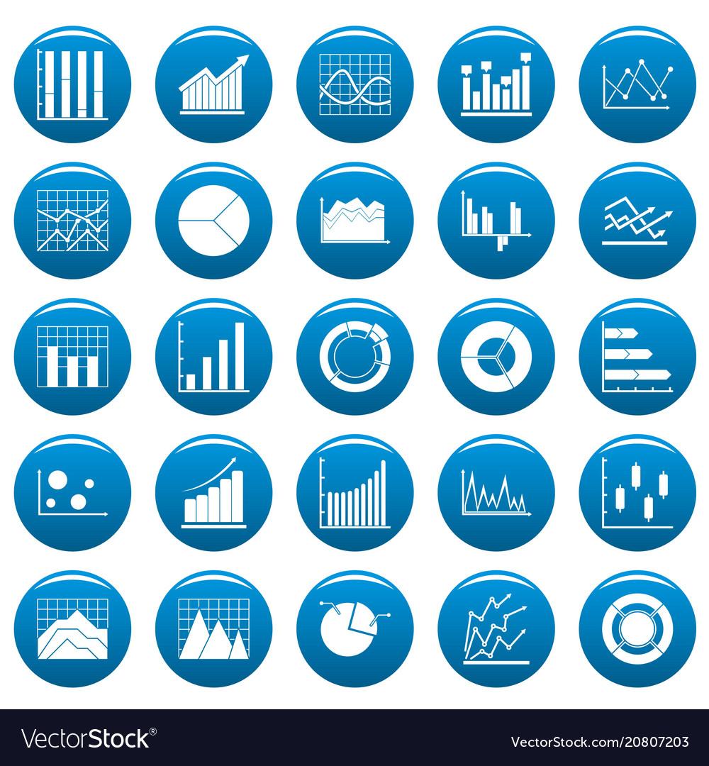 Chart diagram icon set vetor blue