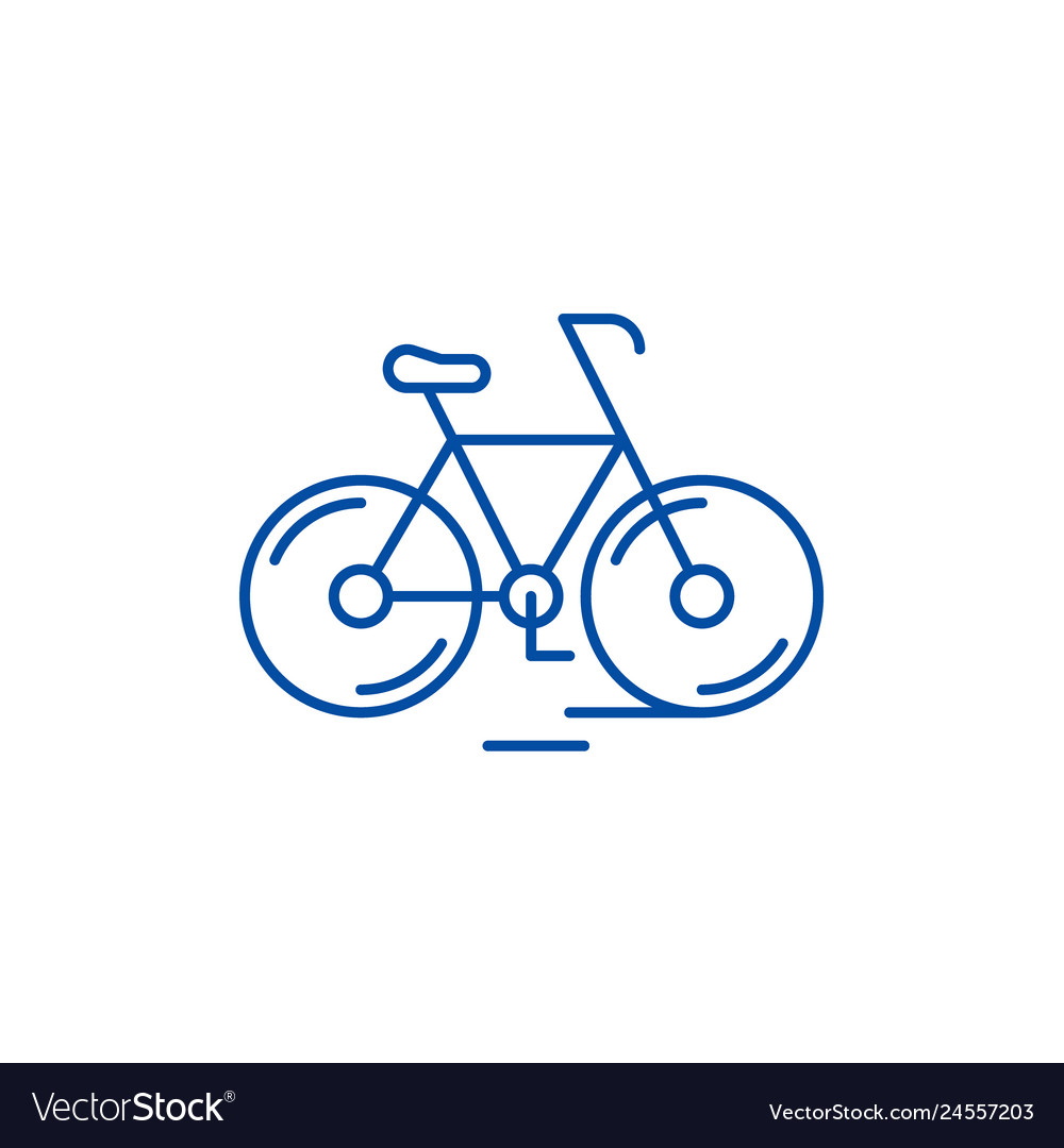 Cute bicycle line icon concept cute bicycle flat