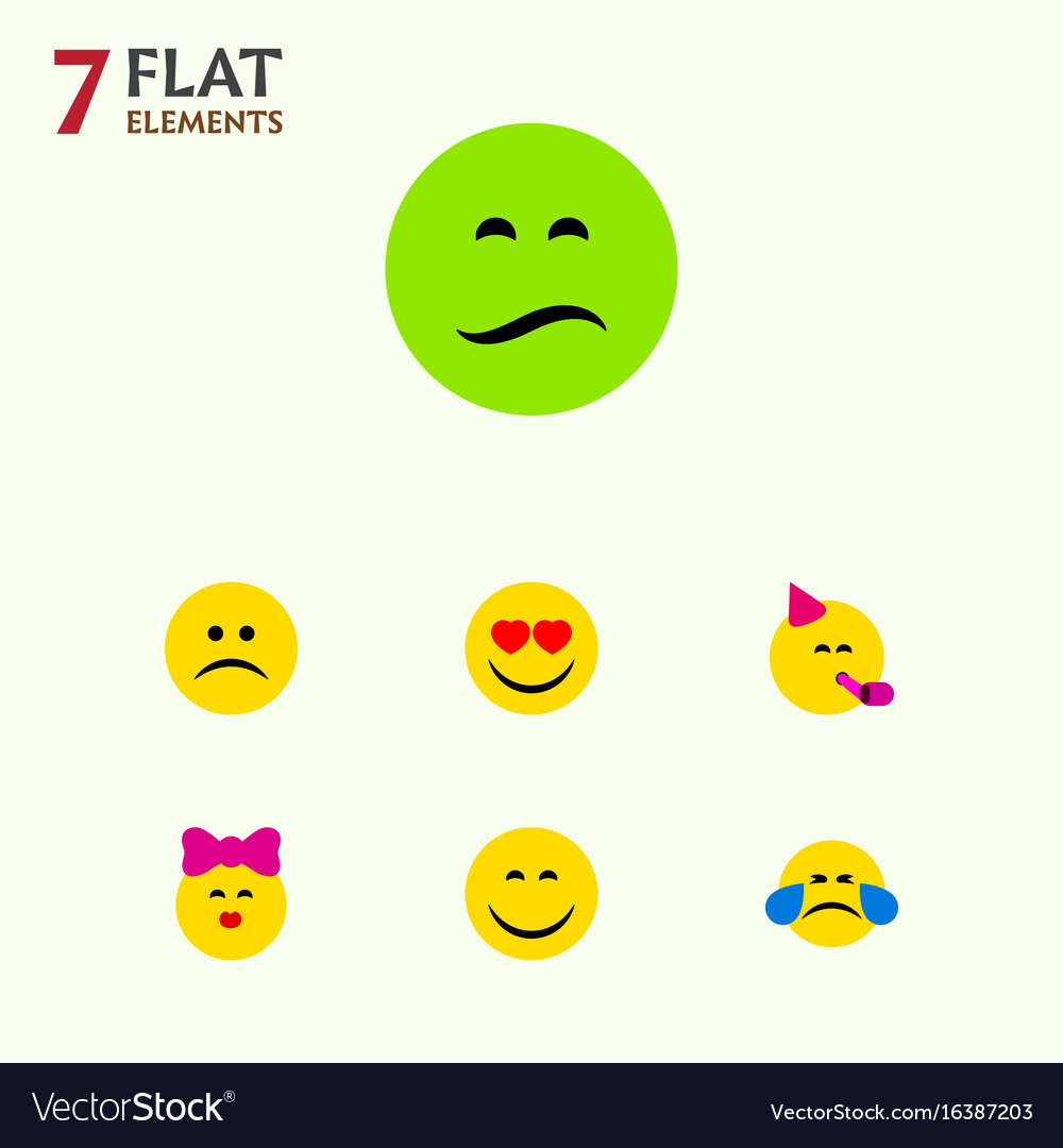 Flat icon emoji set of cold sweat frown party
