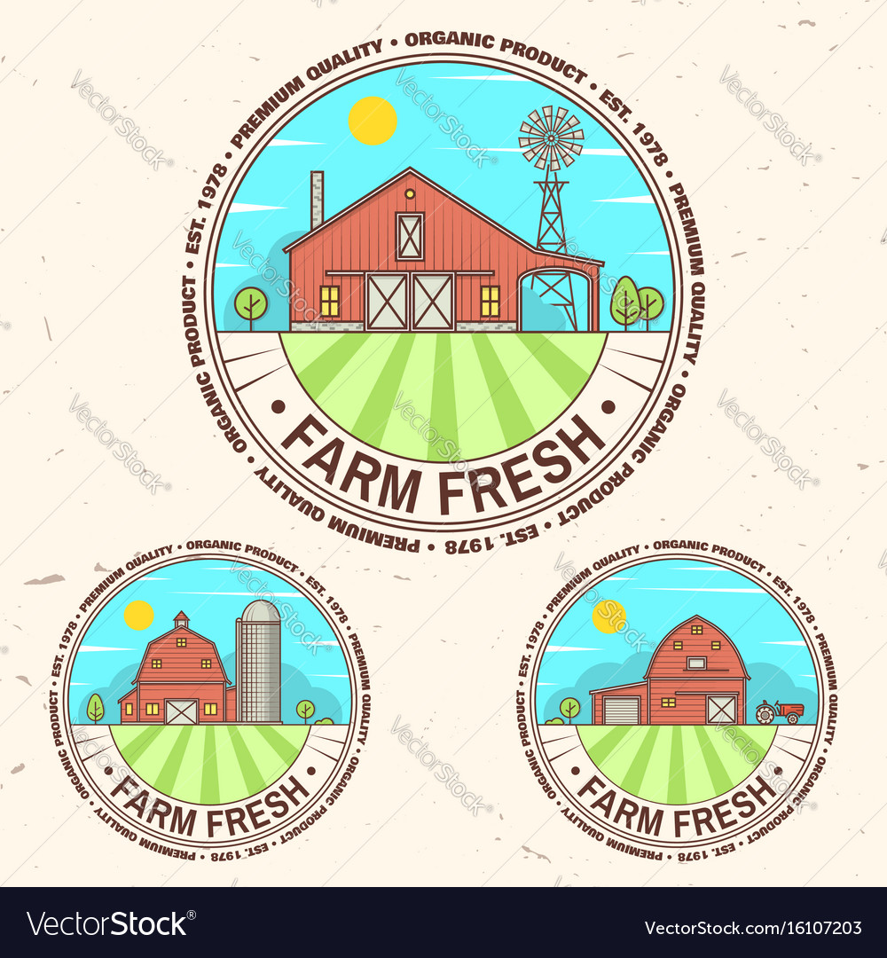 Fresh farm badge label or sign in vintage style