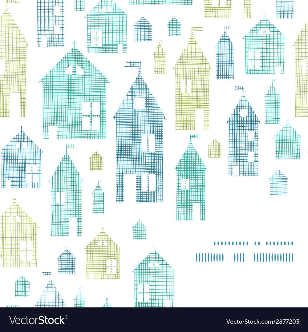 Houses blue green textile texture corner frame