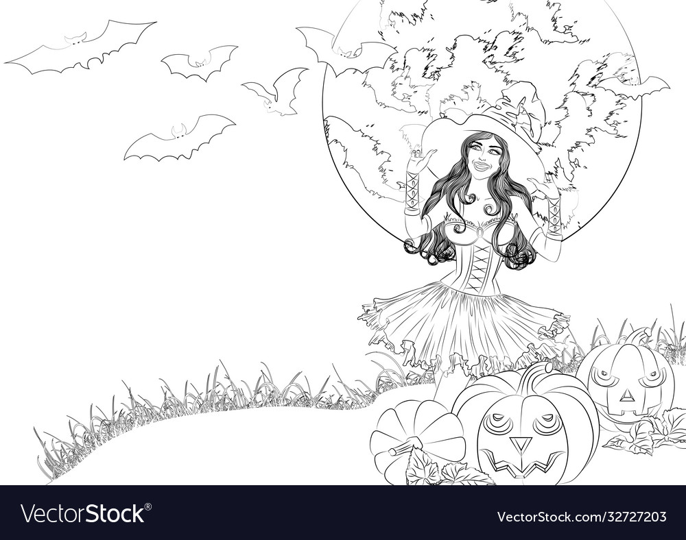 Sexy witch and pumpkins outline