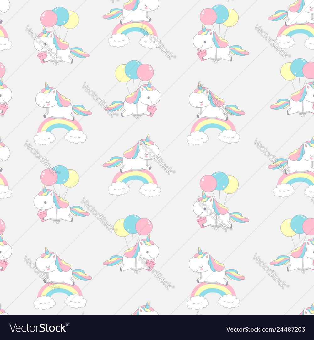Unicorn rainbow cool dream seamless pattern