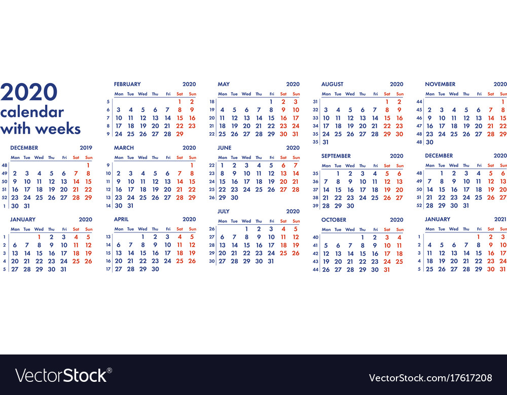 2020 Calendar By Weeks 2020 calendar grid with weeks Royalty Free Vector Image