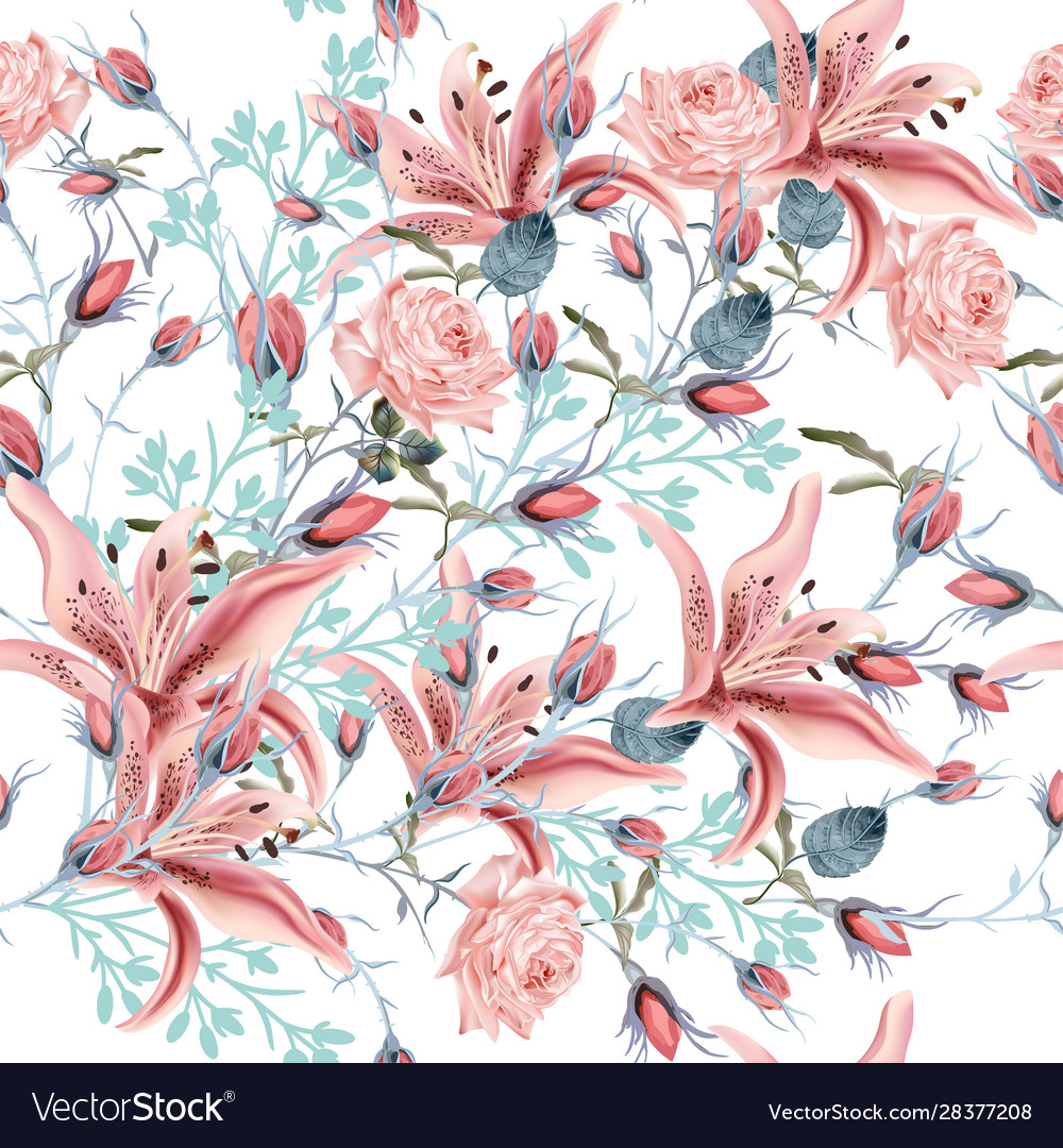 Beautiful floral pattern with pink rose and lily