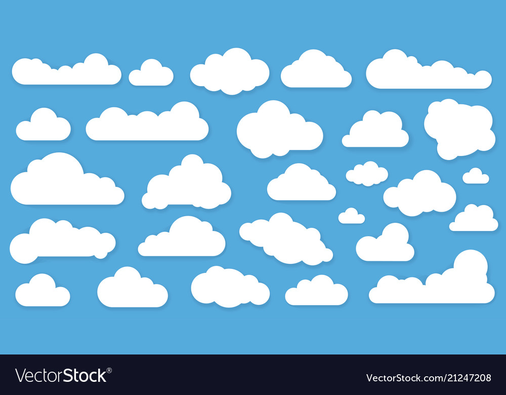 Clouds in blue sky vector icon set