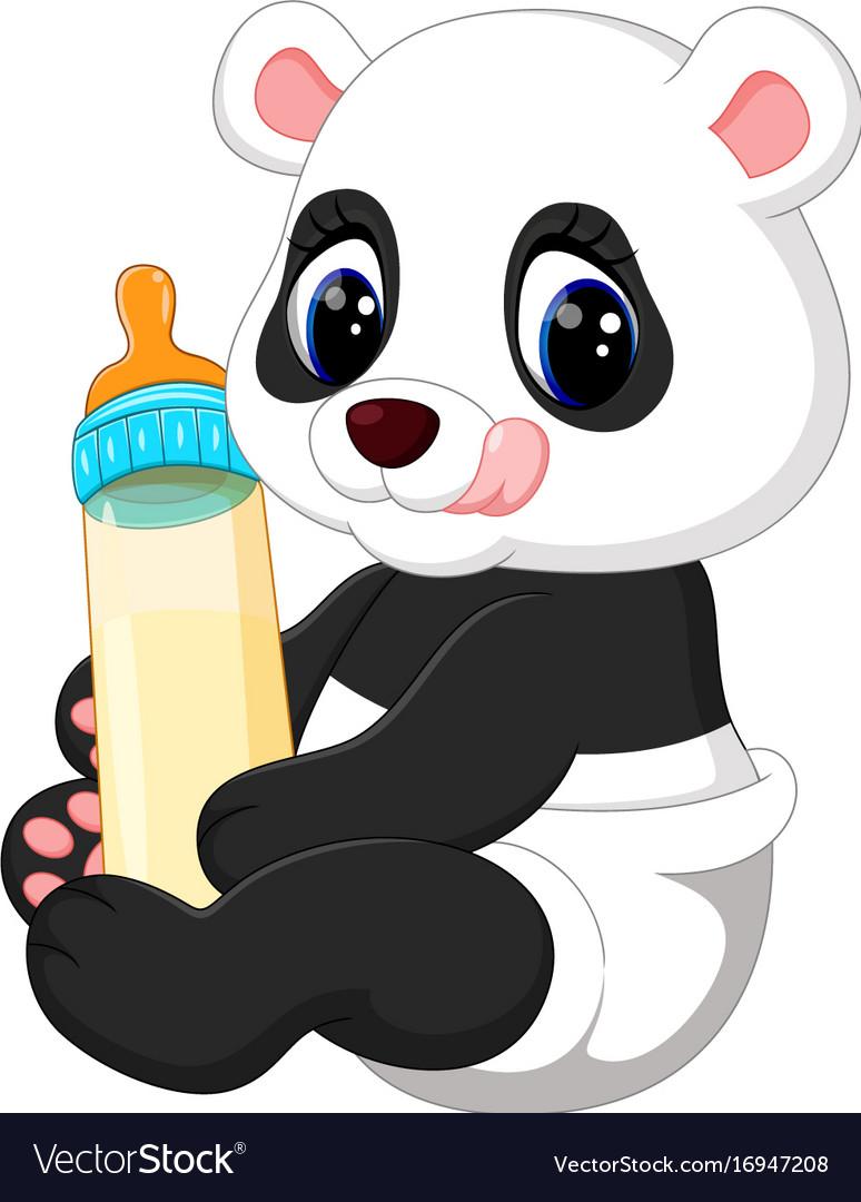 Cute Baby Panda Cartoon Royalty Free Vector Image