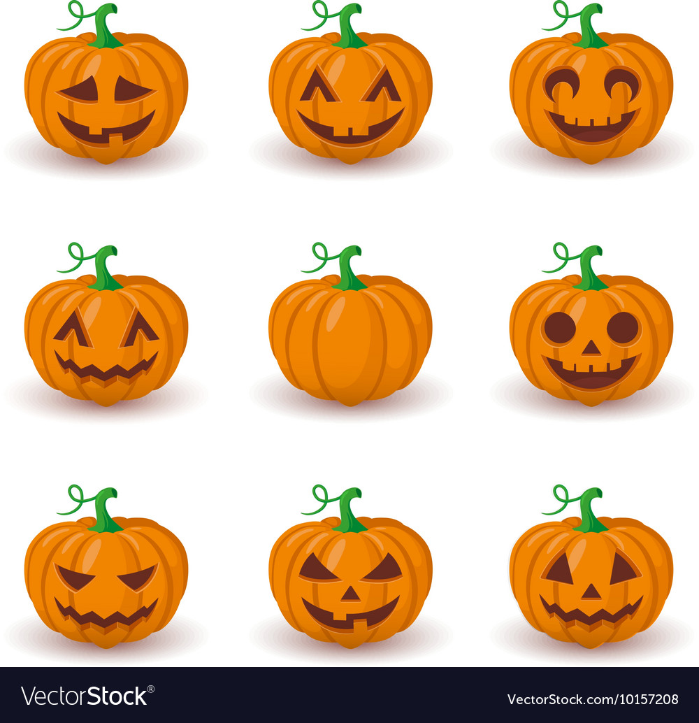 Cute pumpkin faces set
