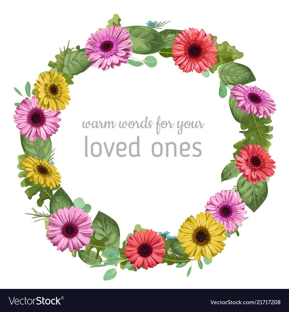 Designer watercolor floral frame wreath colored