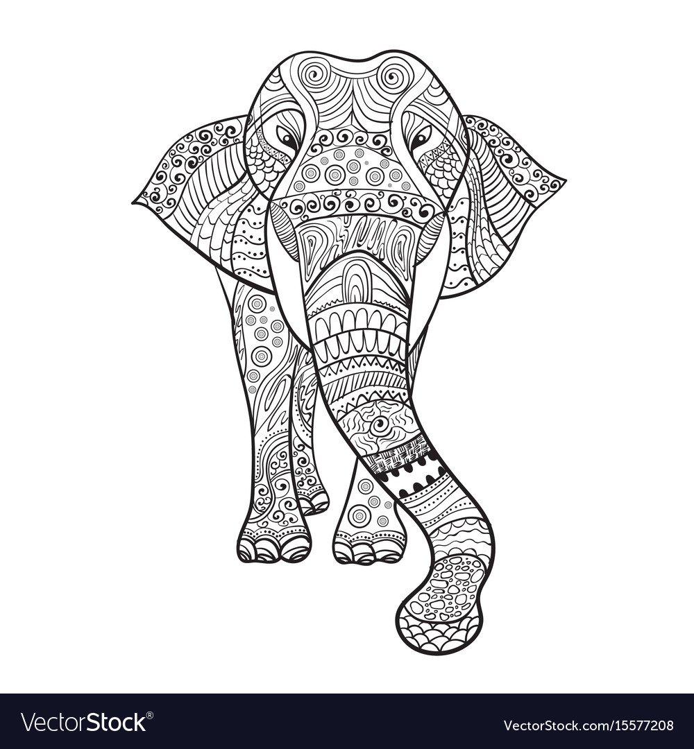 Elaphant entangle animal for coloring book